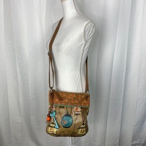 Fossil Key Per Floral and Birdcage Print Crossbody